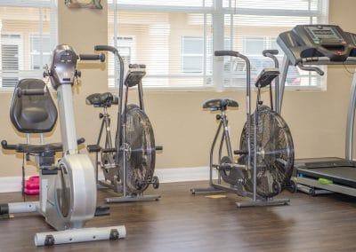 NuStep, stationary bikes and treadmill in physical therapy area area