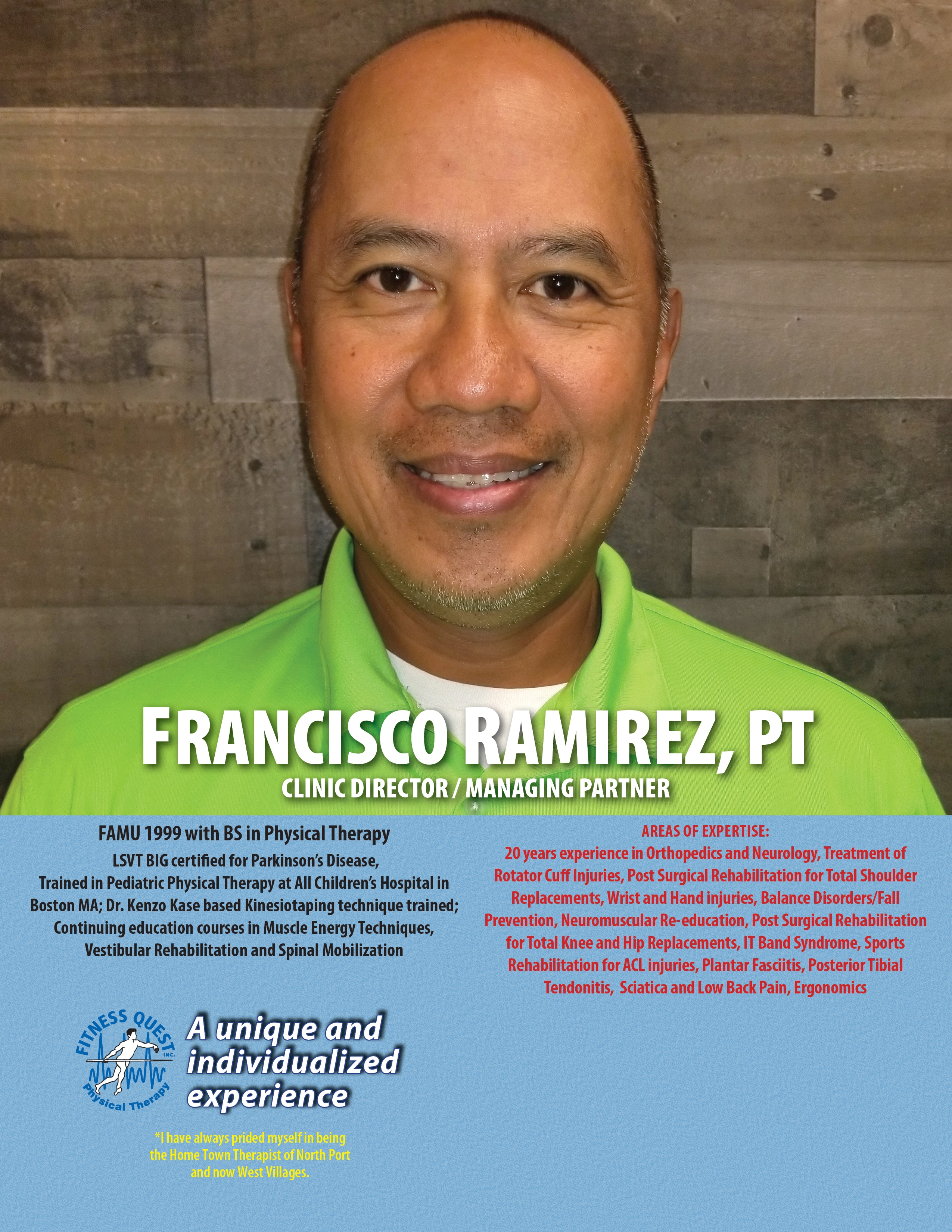 Fitness Quest Physical Therapy North Port Director Francisco Ramirez PT