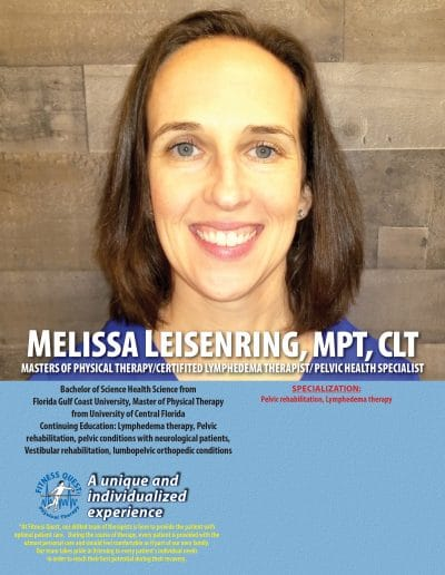 Masters of Physical Therapy, Certified Lymphedema Therapist, Pelvic Health Specialist