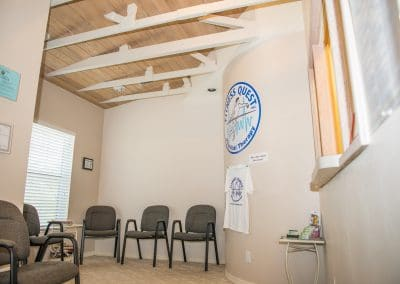 physical therapy waiting room with reception chairs