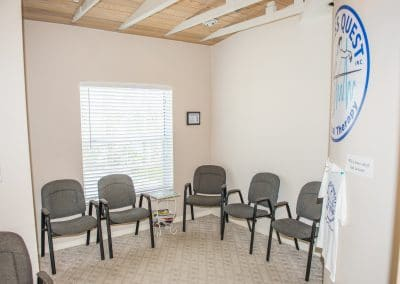 Reception seating area in physical therapy clinic