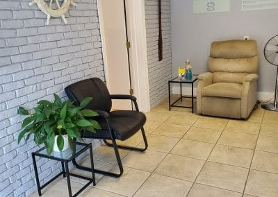 Reception area with reclining chair in Physical Therapy clinic located at 1705 Osprey Avenue Sarasota Florida