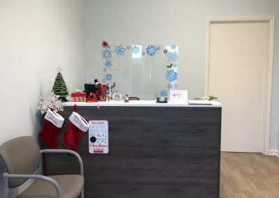 Front desk and reception area in Physical Therapy clinic located in Boca Grande Florida