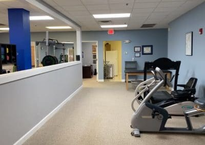 outpatient physical therapy clinic recumbant bike and cardio area